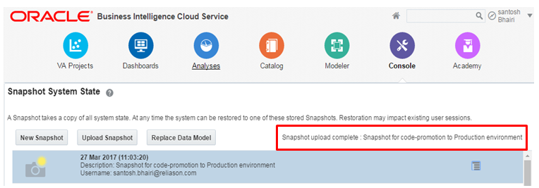 how to take snapshot in oracle